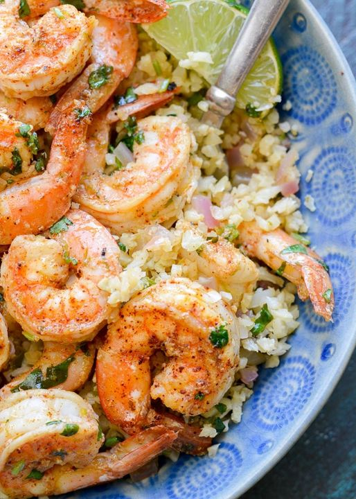 Cilantro Lime Shrimp and Cauliflower Rice